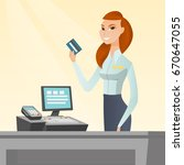 caucasian smiling cashier... | Shutterstock .eps vector #670647055