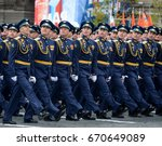 Small photo of MOSCOW, RUSSIA - MAY 09, 2017:Officers of the air force Academy named after Professor N. E. Zhukovsky and Y. A. Gagarin during the parade on red square in honor of Victory Day.