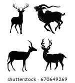 set of deer vector silhouette | Shutterstock .eps vector #670649269