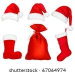 Three Red Santa Hats. Christma...
