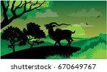 deer ran in the mountain ... | Shutterstock .eps vector #670649767