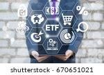 exchange traded fund finance... | Shutterstock . vector #670651021