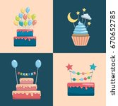 set of decorative toppers for... | Shutterstock .eps vector #670652785
