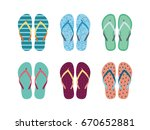 Summer Flip Flops Set Isolated...