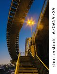 deserted pedestrian bridge at... | Shutterstock . vector #670659739