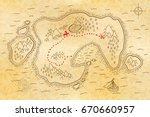 ancient pirate map on old... | Shutterstock . vector #670660957