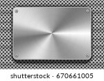 glossy polished metal plate... | Shutterstock . vector #670661005