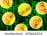 glossy golden coins with... | Shutterstock . vector #670662214