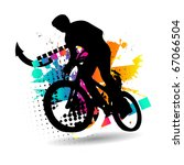 vector silhouette cycling on... | Shutterstock .eps vector #67066504