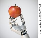 robotic hand holding an apple... | Shutterstock . vector #670667341