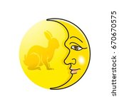 moon with face   rabbit in... | Shutterstock .eps vector #670670575