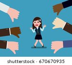 business woman thumps down.... | Shutterstock .eps vector #670670935
