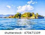 isola bella island on the... | Shutterstock . vector #670671109