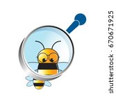 colorful bee through magnifying ... | Shutterstock .eps vector #670671925