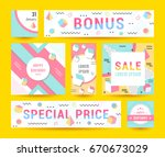 elegant modern flyers and cards ... | Shutterstock . vector #670673029
