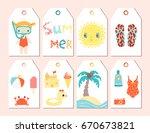 cute summer season gift tags... | Shutterstock .eps vector #670673821