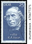 Small photo of Berlin, Germany - Jan. 25, 1972: Korla Awgust Kocor (1822-1904), famous German Sorbian composer and conductor. Stamp issued by German Post in 1972.