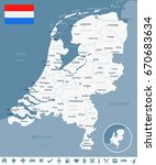 netherlands map and flag  ... | Shutterstock .eps vector #670683634