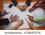 group of business hands... | Shutterstock . vector #670692274