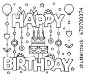 Happy Birhday. Coloring Page....