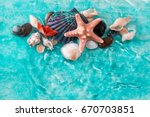 vacation concept with starfish  ... | Shutterstock . vector #670703851