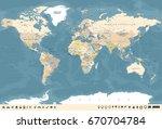 world map in vintage design.... | Shutterstock .eps vector #670704784