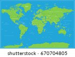 world map in blue and green... | Shutterstock .eps vector #670704805