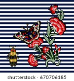 butterfly  beetle and flowers... | Shutterstock . vector #670706185
