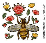 bee and flowers embroidery.... | Shutterstock . vector #670706269