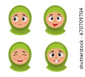 little arab girl with hijab... | Shutterstock .eps vector #670709704