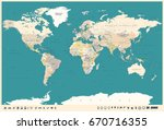 world map in vintage style.... | Shutterstock .eps vector #670716355