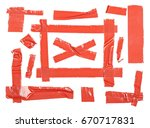 red duct repair tape isolated... | Shutterstock . vector #670717831