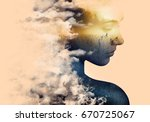 double exposure portrait of... | Shutterstock . vector #670725067