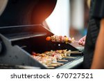 assorted barbecue grilling on... | Shutterstock . vector #670727521