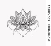 filigree lotus flower  black... | Shutterstock .eps vector #670728511