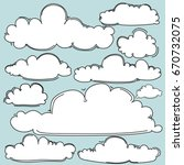 hand drawn clouds set. | Shutterstock .eps vector #670732075
