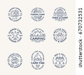 camping logo set line style... | Shutterstock .eps vector #670732531