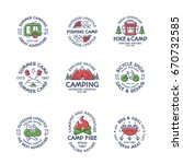 camping logo set color style... | Shutterstock .eps vector #670732585
