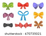 cartoon cute gift bows with... | Shutterstock .eps vector #670735021