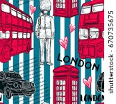 seamless pattern with london... | Shutterstock .eps vector #670735675
