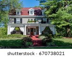 formal house with draped open... | Shutterstock . vector #670738021