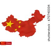 china map with waving flag of... | Shutterstock .eps vector #670740334