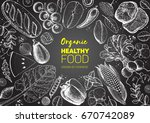 healthy food frame vector...   Shutterstock .eps vector #670742089