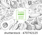 healthy food frame vector... | Shutterstock .eps vector #670742125