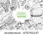 healthy food frame vector... | Shutterstock .eps vector #670742137