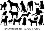 dog breeds. silhouettes of dogs.... | Shutterstock .eps vector #670747297