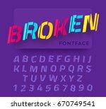 broken vector paper cut font.... | Shutterstock .eps vector #670749541