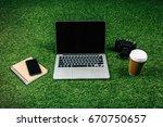 laptop  smartphone  photo... | Shutterstock . vector #670750657