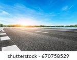 asphalt road and sky cloud... | Shutterstock . vector #670758529