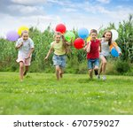 four happy kids playing and...   Shutterstock . vector #670759027